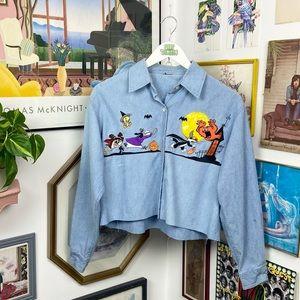 Vintage Looney Tunes Halloween Denim Cropped Shirt